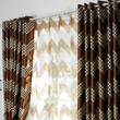 Chic Brown Blackout Poly/Cotton Blend Curtains with Geometric Patterns(Two Panels)