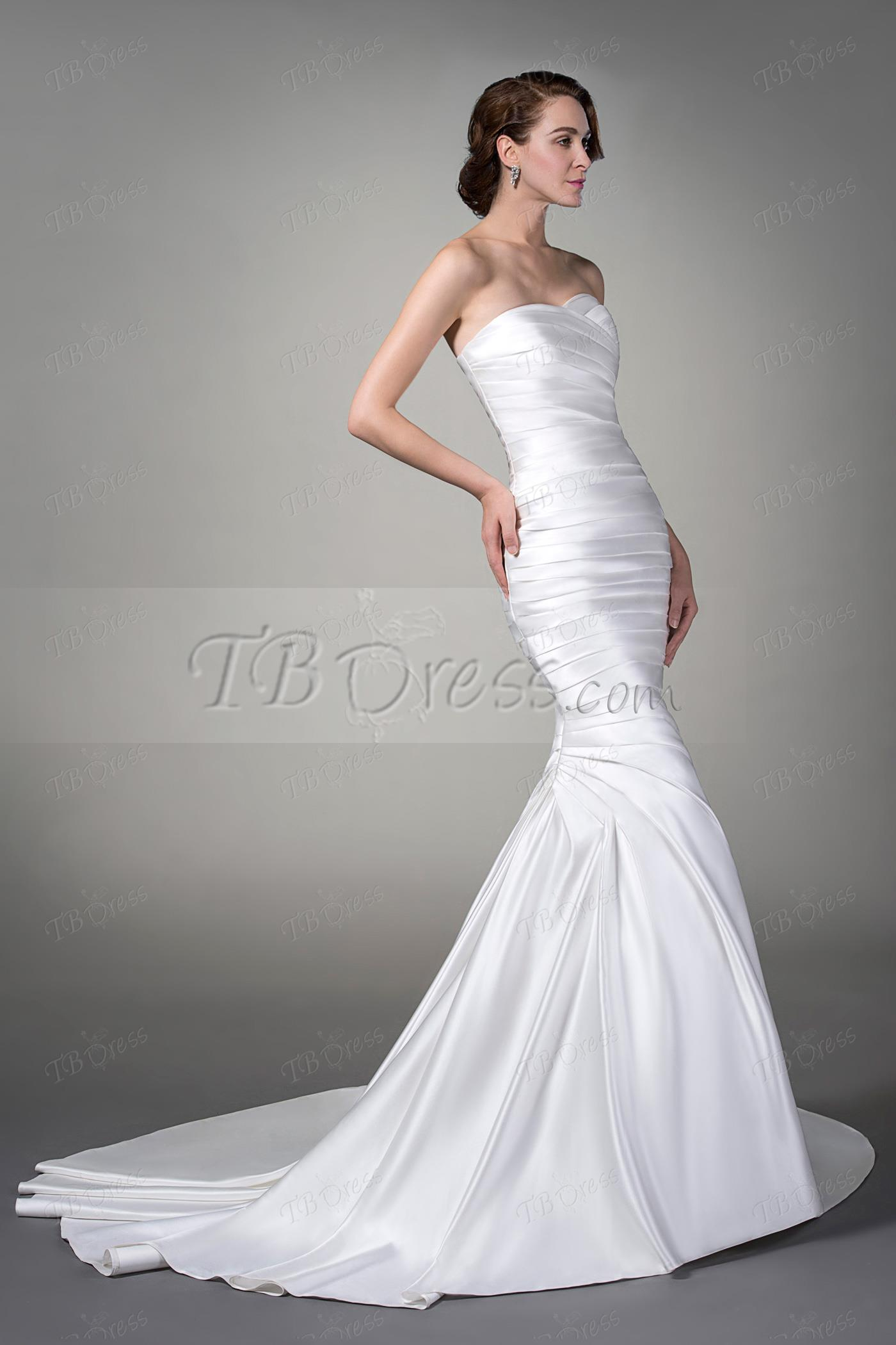 Fancy Trumpet Mermaid Sleeveless Matte Ruched Sweetheart Court Train Wedding Dress Item Code 10792914