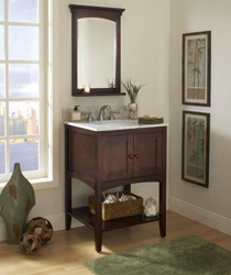 "sagehill designs al2421 24"" Bathroom Vanity cabinet with open display shelf from the allure collection"