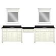 "Sagehill Designs 120"" Double Bathroom Vanity with Make-Up Station from Cottage Retreat Collection No Countertop"