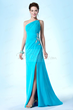 New Fashionable One Shoulder Column/Sheath Beading Sweep/Brush Evening/Prom Dress Item Code: 10770404