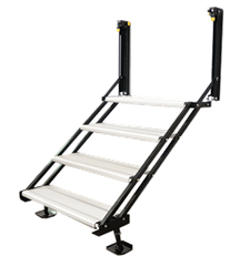 The new aluminum quad entry step fastens to the RV sidewall, rear wall, exterior slide-out wall or over a wheel well, allowing manufacturers to create more versatile and customized RV floor plans.