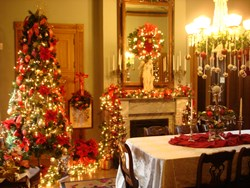 "Vaile Mansion, ""America's Christmas Castle"" decorated for Victorian Winter Wonderland."""