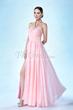 Elegant A-Line Split-Front Halter Ruched Evening Dress Item Code: 10784592