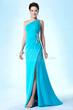 New Fashionable One Shoulder Column/Sheath Beading Sweep/Brush Evening/Prom Dress Item Code: 10770404