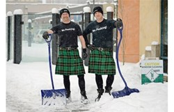 Chris and Steve in Edmonton shovelling snow
