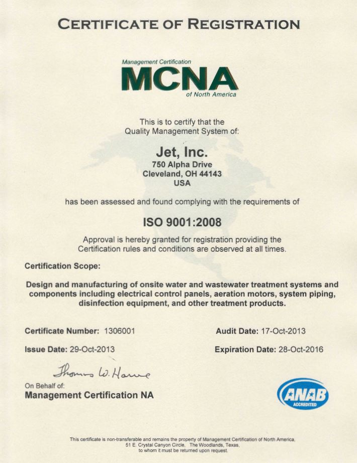 Jet Inc Certified As An Iso 90012008 Organization