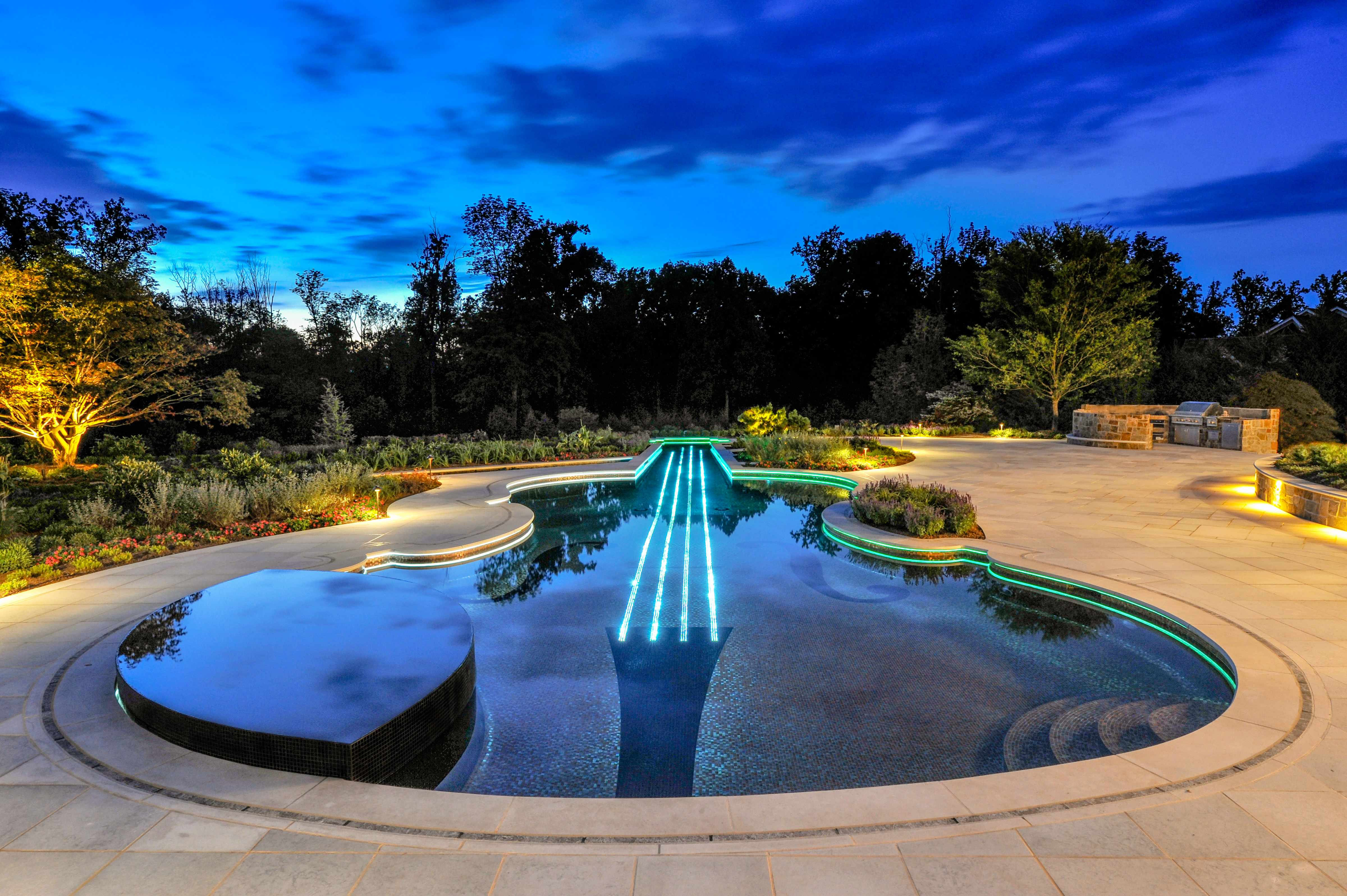 luxury pool and spa design njluxury color led swimming pool and spa design and installation bergen county nj - Swimming Pool And Spa Design