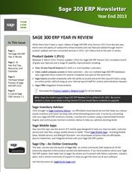Sage  300 ERP Newsletter