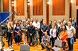 The Best Man Holiday film composer Stanley Clarke with the orchestra assembled to record the score.
