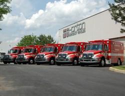 A fleet of Horton Ambulences outside of the Horton factory