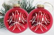 Candy Apple Pinstriped Ornaments