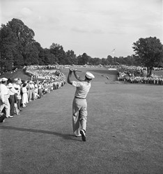 Ben Hogan's 1-iron approach shot to the 72nd green of the 1950 U.S. Open at Merion Golf Club in Ardmore, Pa. Hogan parred the hole to get into an 18-hole playoff, which he went on to win over Lloyd Mangrum and George Fazio.
