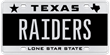 RAIDERS personalized Texas license plate sold at auction for $2000 in January 2011.