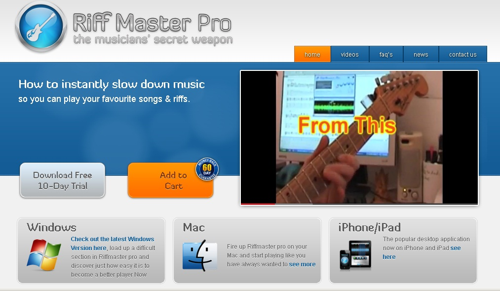 riff master pro helps people learn how to slow down music or speed up their favorite music v. Black Bedroom Furniture Sets. Home Design Ideas