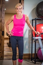 Dara Torres in her home gym during the shooting of her new Tommie Copper commercial.