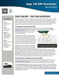 Sage 100 ERP Year End Newsletter