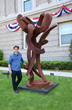 "Sculptor David Boyajian with ""Dancing Milkweed III"""