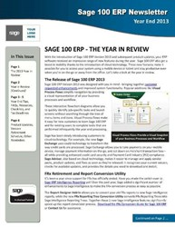 Sage 100 ERP Year End Newsletter