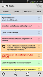 ActionComplete GTD Toolkit - All Tasks