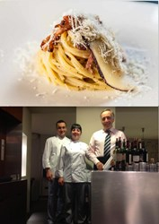 Pasta alla Gricia and manager and Chefs of Restaurant Moma in Rome Italy