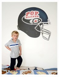 Blue Pop Warner football helmet wall decal