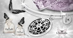 Image showing the Chrysalis Limited Edition Snowflake Adjustable Bangle, Chrysalis bags and butterflies.