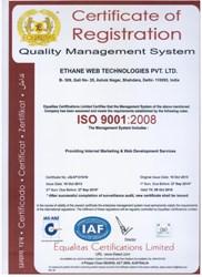 Ethane Web Technologies Pvt Ltd's ISO Certificate