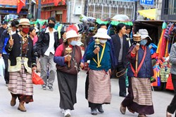 During Saga Dawa Festival, thousands of Tibetan pilgrims flock to Lhasa to worship Buddha and do ritual walks.