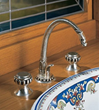 herbeau 2232 double handle single hole bathroom faucet with metal knob handles from the pompadour