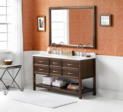 """RonBow 052760 Newcastle 60"""" Wood Vanity Cabinet with Four Functional Drawers and Open Bottom Shelf"""