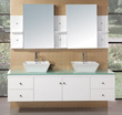 "Design Element Portland 72"" Double Sink Bathroom Vanity Set in White Finish (DEC071B-W)"