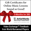 ArtistWorks Announces Holiday Gift Certificates and Gift Cards for Its...
