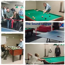 This is a picture of the Sound Lounge at Sound Telecom a 24 hour nationwide provider of Sound Telecom Inbound Call Center Services, Sound Telecom Business Process Outsourcing Services, Sound Telecom Outbound Telemarketing Services, Sound Telecom Web Chat
