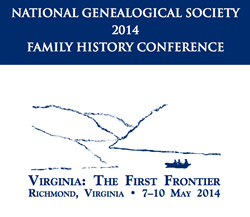 Image forfor the 2014 National Genealogical Society's Family History Conference from May 7-14, 2014 in Richmond, Virginia.