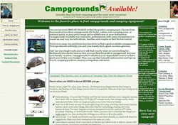 Campgrounds Available Web Screen Shot
