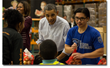The Obama Family Volunteers at the Capital Area Food Bank the Day...