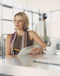 woman completing credit survey