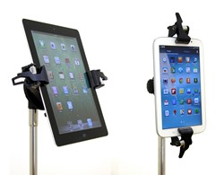 The Manos Mount from AirTurn can hold tablets and smartphones up to 13 inches in size