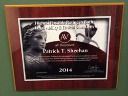 Patrick T. Sheehan's Martindale Hubbell Award
