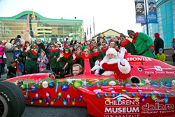 Indy 500 Pole Sitter Ed Carpenter & Santa Claus  raced into The Children's Museum of Indianapolis