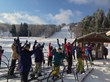 Skiers and Boarders await the first chair ride up to start the season.