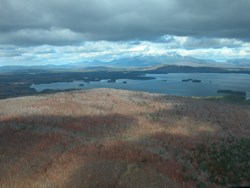 Aerial View of Hammond Ridge (NEOC's home) Millinocket Lake and Katahdin