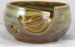 Dragonfly Notched Yarn Bowl by Canadian Potter Susanne James