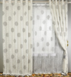 Graceful Grey Floral Printed Embossed White Lined Cotton Curtains (Two Panels)