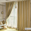Elegant Gold Polyester Totally Blackout Lined Curtains (Two Panels)