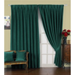 Fascinating Dark Green Poly/Cotton Blend Lined Curtains (Two Panels)