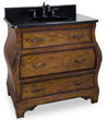 Hardware Resources VAN009-T - walnut bombe Bathroom Vanity with preassembled top and bowl from lyn design