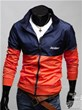 3-Ruler Men's Polyester Two Tone Color Orange and Navy Blue Embroidery Jacket Outerwear