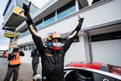 Lamborghini Beverly Hills team driver Andrew Palmer celebrates victory.